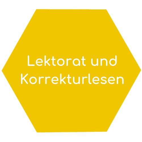 Lektorat und Korrekturlesen hexagon